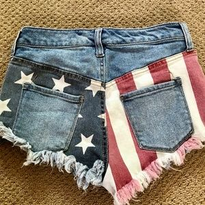 So Cute Flag Denim High Rise Cut-Offs Shorts
